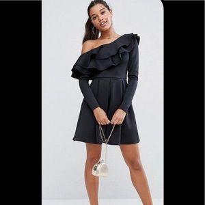 Black ruffle one shoulder short dress